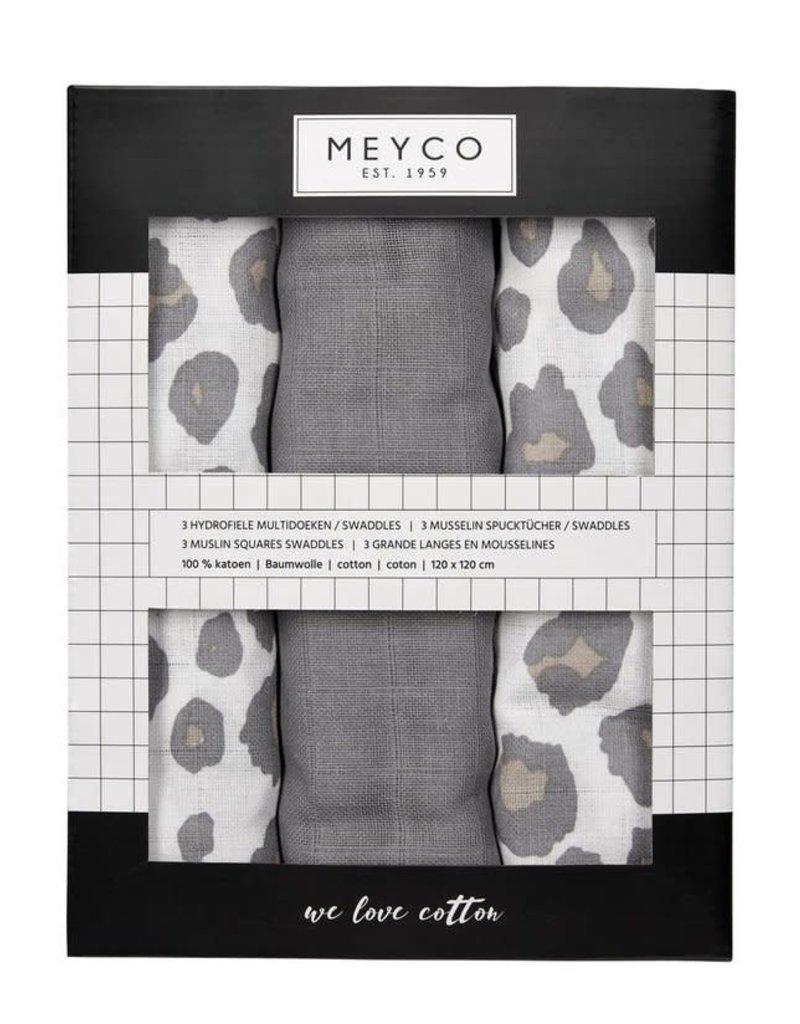 Meyco Meyco 3pck swaddles Panter neutral
