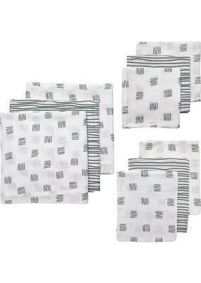 Meyco Meyco Starterset 9pack hydrofiel Block stripe forest green