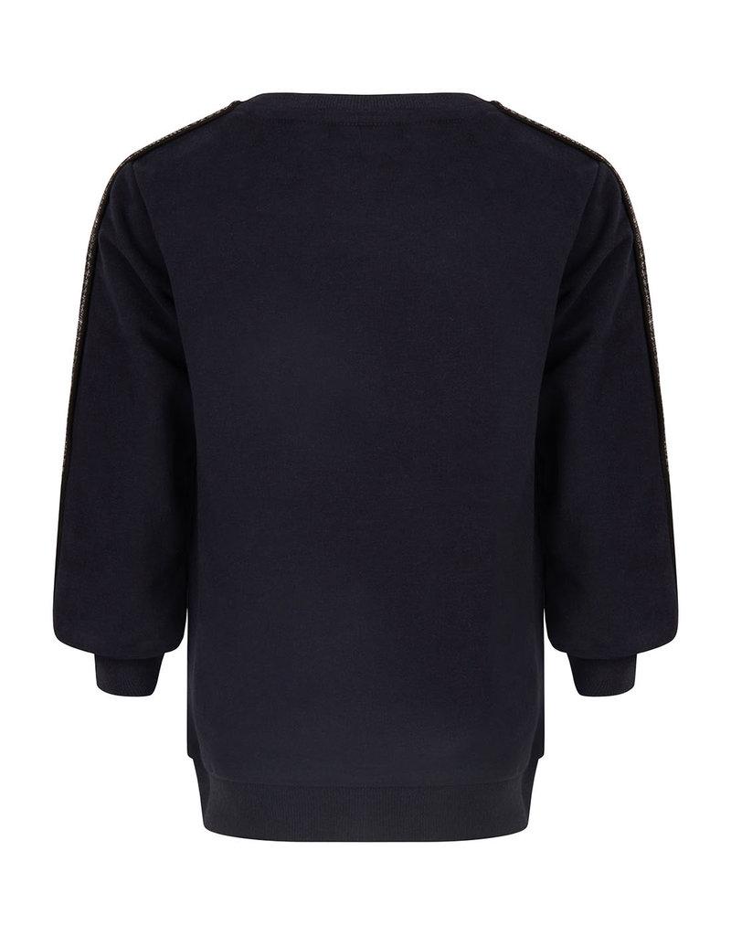 Daily7 Daily7 sweater crewneck check sleeve deep navy