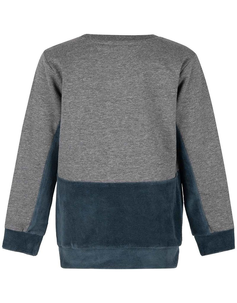 Daily7 Daily7 sweater crewneck rib pocket medium grey melange