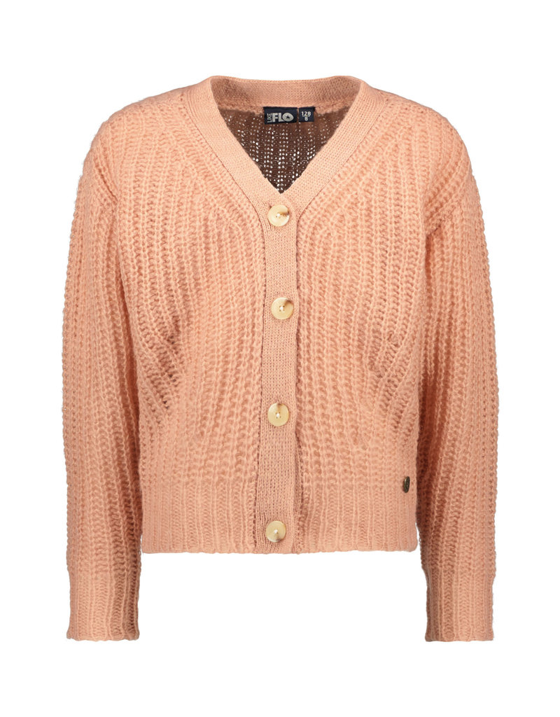 Like Flo Like Flo rib knit cardigan horn button powder pink