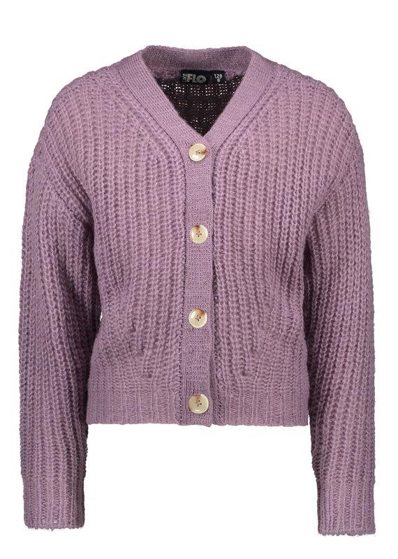 Like Flo Like Flo rib knit cardigan horn button lilac