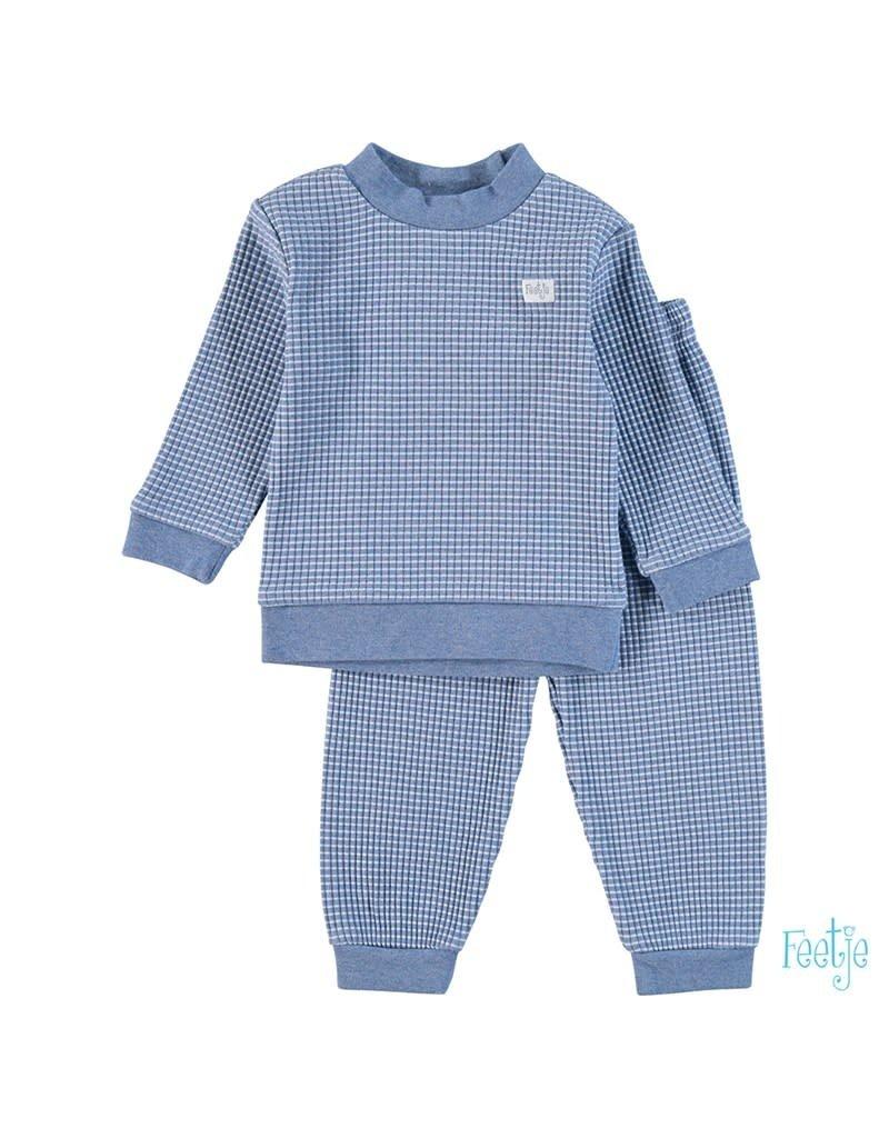Feetje Feetje wafel pyjama blue melange