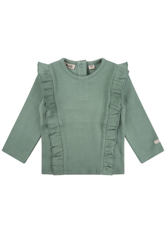 Daily7 Daily 7 shirt ls rib ruffle green sea
