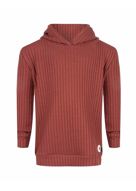 Daily7 Daily7 sweater hooded rib wine red