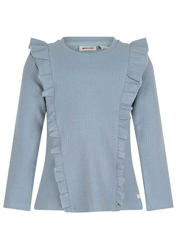 Daily7 Daily7 shirt ls rib ruffle steel blue