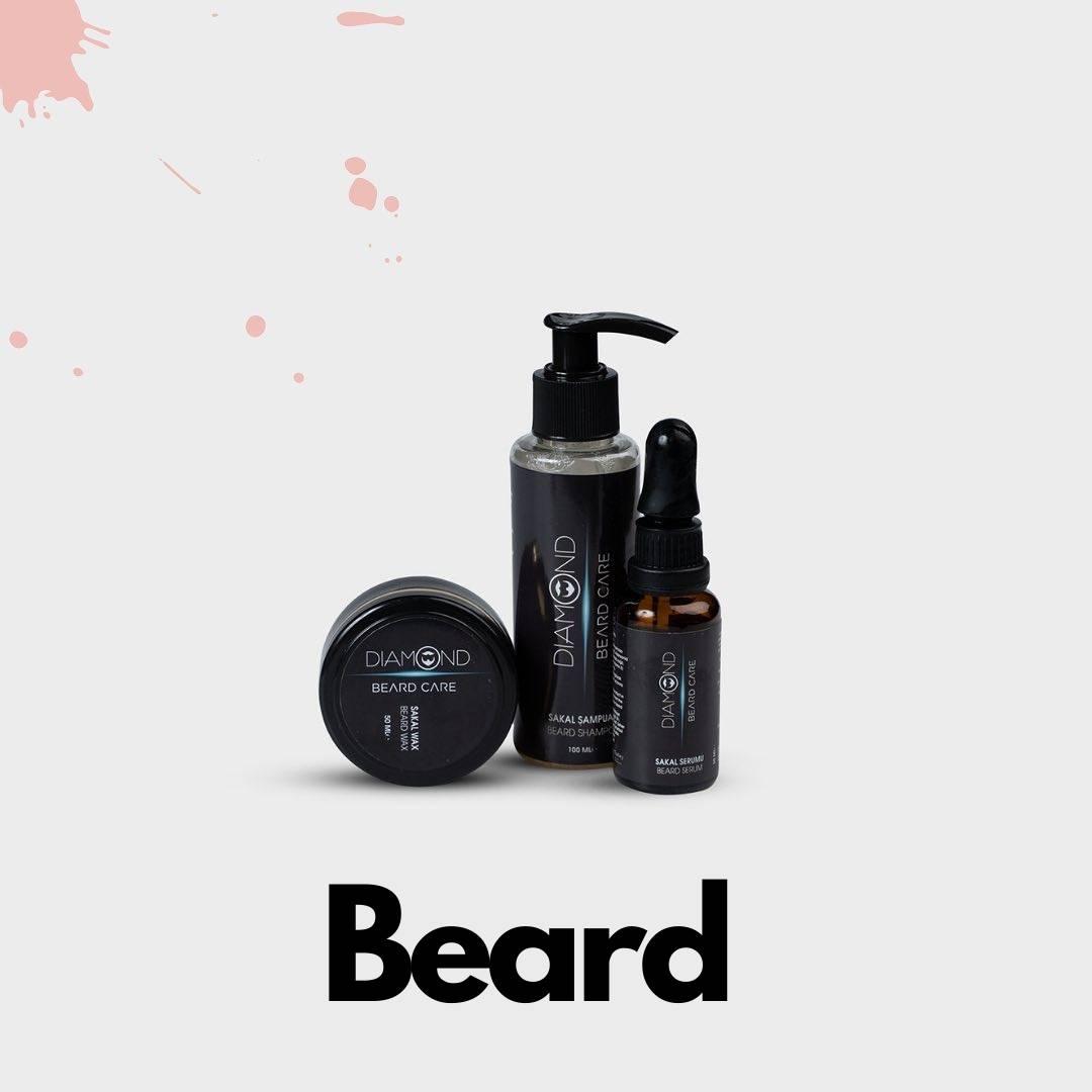 Was, voed, versterk de volheid, verhoog de groei en vorm je baard met de Diamond Beard shampoo, het Diamond Beard serum en de Diamond Beard wax.