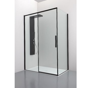 Douchewand Finesse – Wand met schuifdeur + vaste wand - Zwart