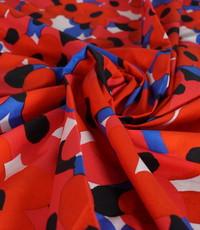 Popeline bloem rood wit blauw