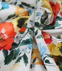 Popeline  bonte bloemen