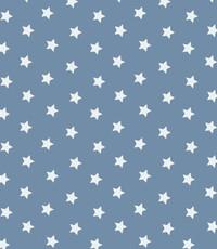 Popeline kleine sterretjes jeansblauw