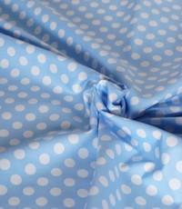Katoen lichtblauw big dots