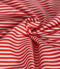 Katoen gestreept rood wit