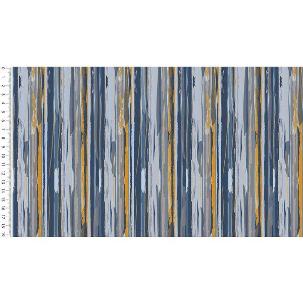 French terry modern stripe blauw/geel