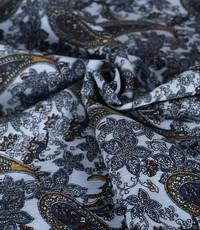 Katoen met paisley dessin lichtblauw crinkle