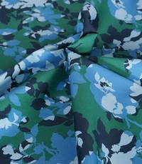 Stretch katoen blad groen blauw