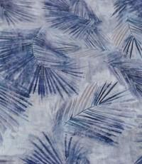 Stretch katoen veertje blauw
