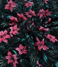 Katoenen tricot rose lelie