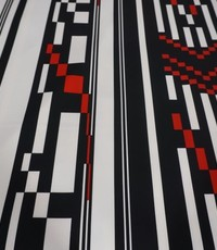 Scuba zwart-wit-rood streep