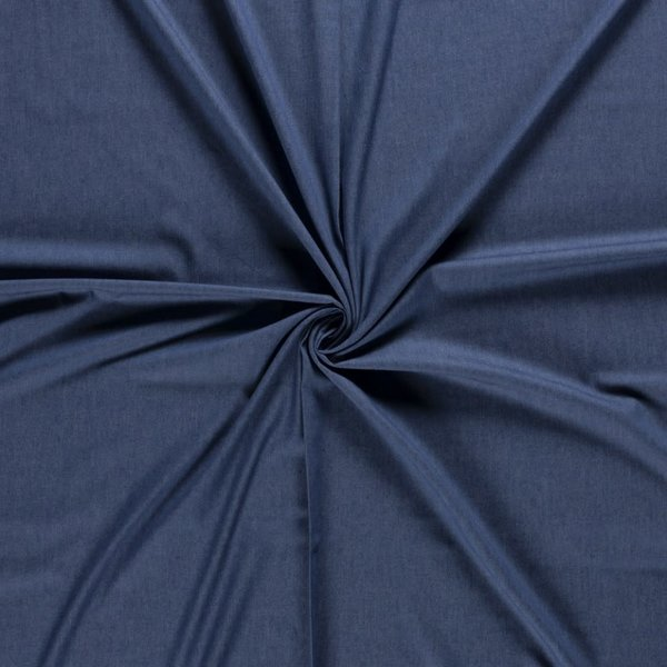 Voorgewassen denim indigo blauw chambray