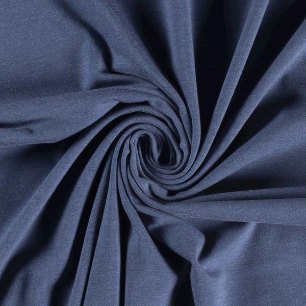 Katoenen tricot zware kwaliteit jeanskleur  melange