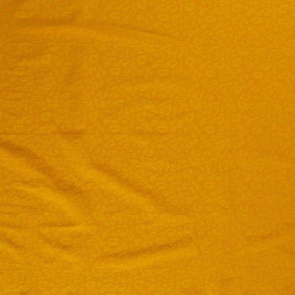 Stretch katoen met ingeweven print oker