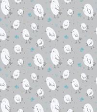 French terry vogeltjes licht grijs