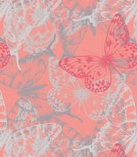 French terry met vlinder koraal