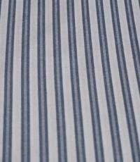 Katoen ecru jeansblauw gestreept