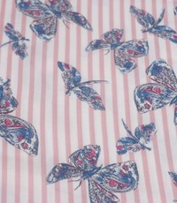Viscose vlinder op rose streep