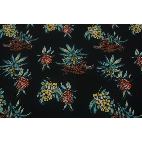 Lycra bedrukt zwart met bloem