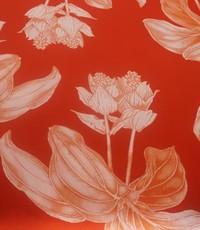 Satijn oranje met bloem