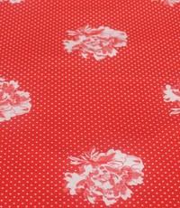 Stretch rood met mini ruitje en bloem