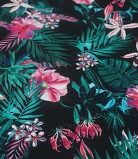 Bedrukte lycra zwart rose jungle