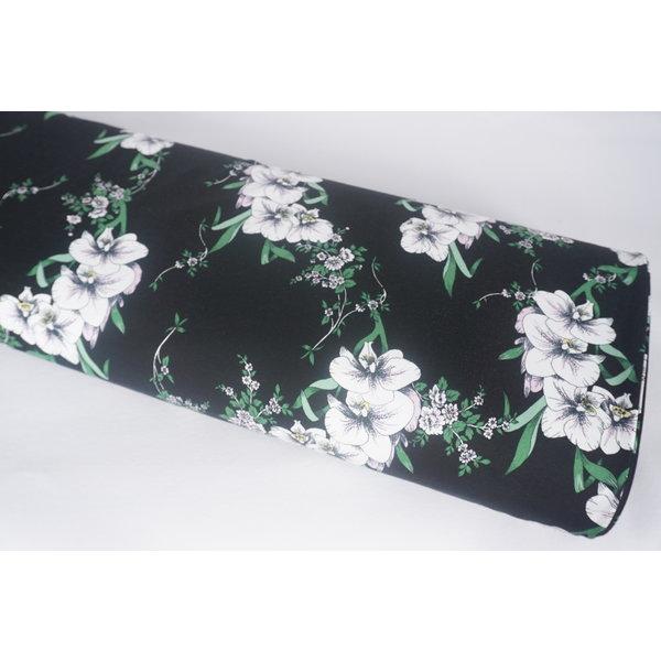 Katoenen tricot zwart met witte bloem