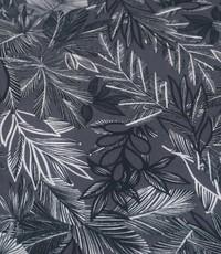 Stretch katoen donkerblauw met wit veerblad