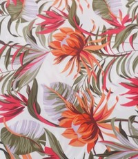 Satijn met oranje en rose bloem