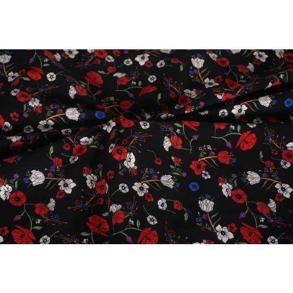Katoenen tricot klaproos rood wit