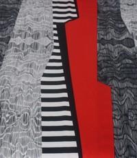 Tricot grafisch rood-zwart-wit