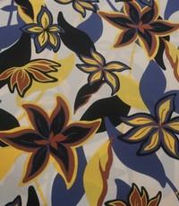 Polyester blauw met geel gebloemd