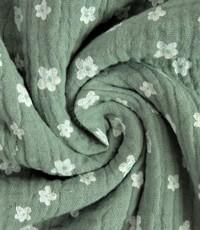 Mousseline oud groen met wit bloemetje