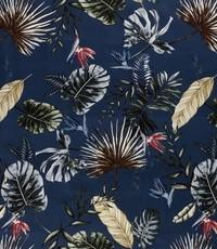 Stretch katoen met blad jeanskleur