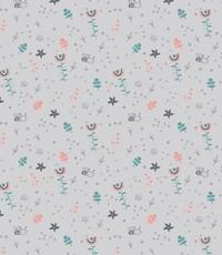 Katoen grijs met regenboogjes
