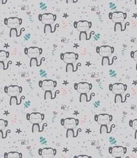 Katoen grijs met aapjes