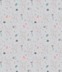 Katoen grijs met konijntjes