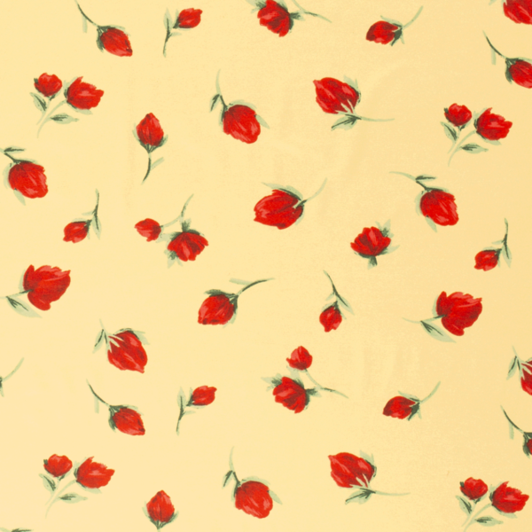 Viscose tricot geel met rode bloemknopjes