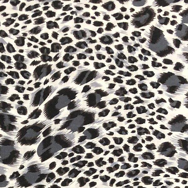 Viscose dierenprint in zwart wit en grijs