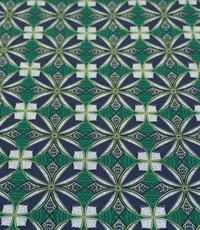 Katoen blauw met groen stretch