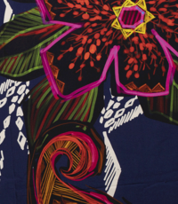 Tricot donkerblauw met grafisch blad