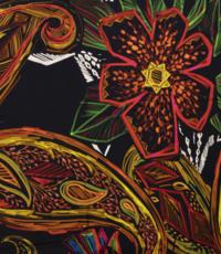 Tricot zwart met grafisch blad